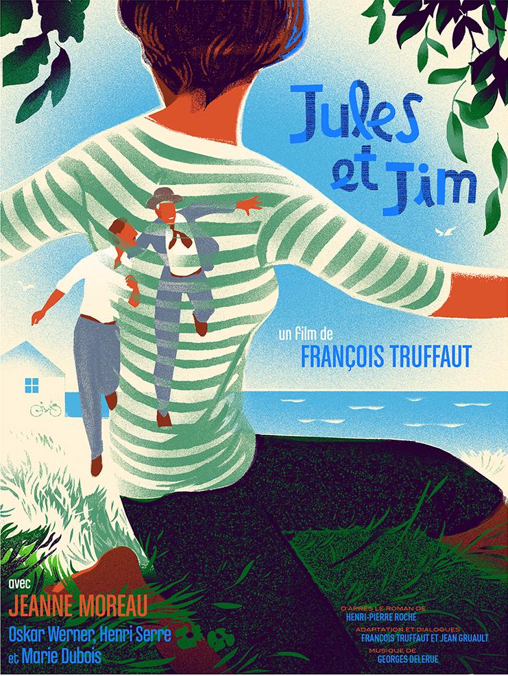 """Jules  et Jim"" by Mick Wiggins.  18"" x 24"" 9-color Screenprint.  Ed of 250 N.  €40 ($51)"