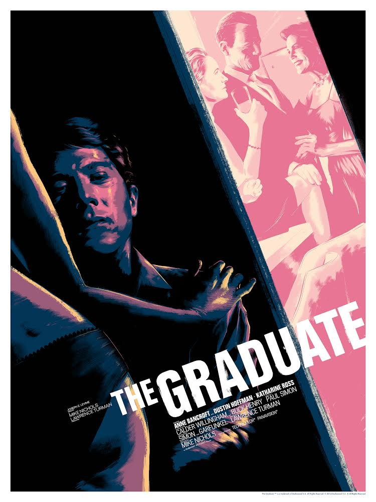 """The Graduate"" by Matt Taylor.  18"" x 24"" Screenprint.  Ed of 175 N.  $45"