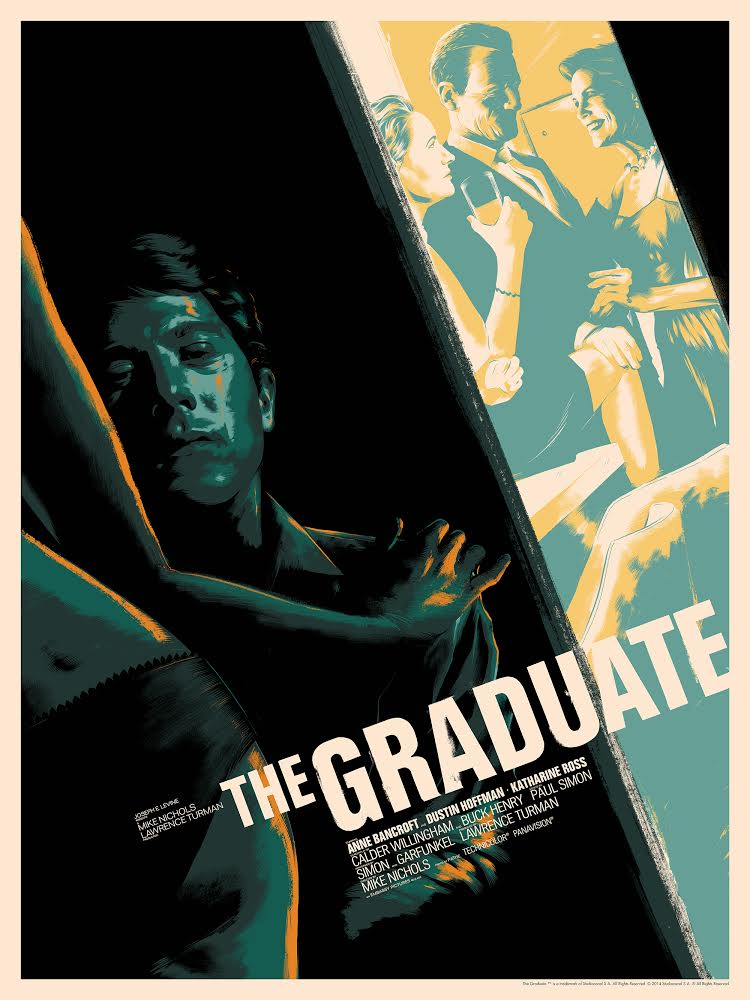 """The Graduate"" by Matt Taylor.  18"" x 24"" Screenprint.  Ed of 90 N.  $55 (variant)"