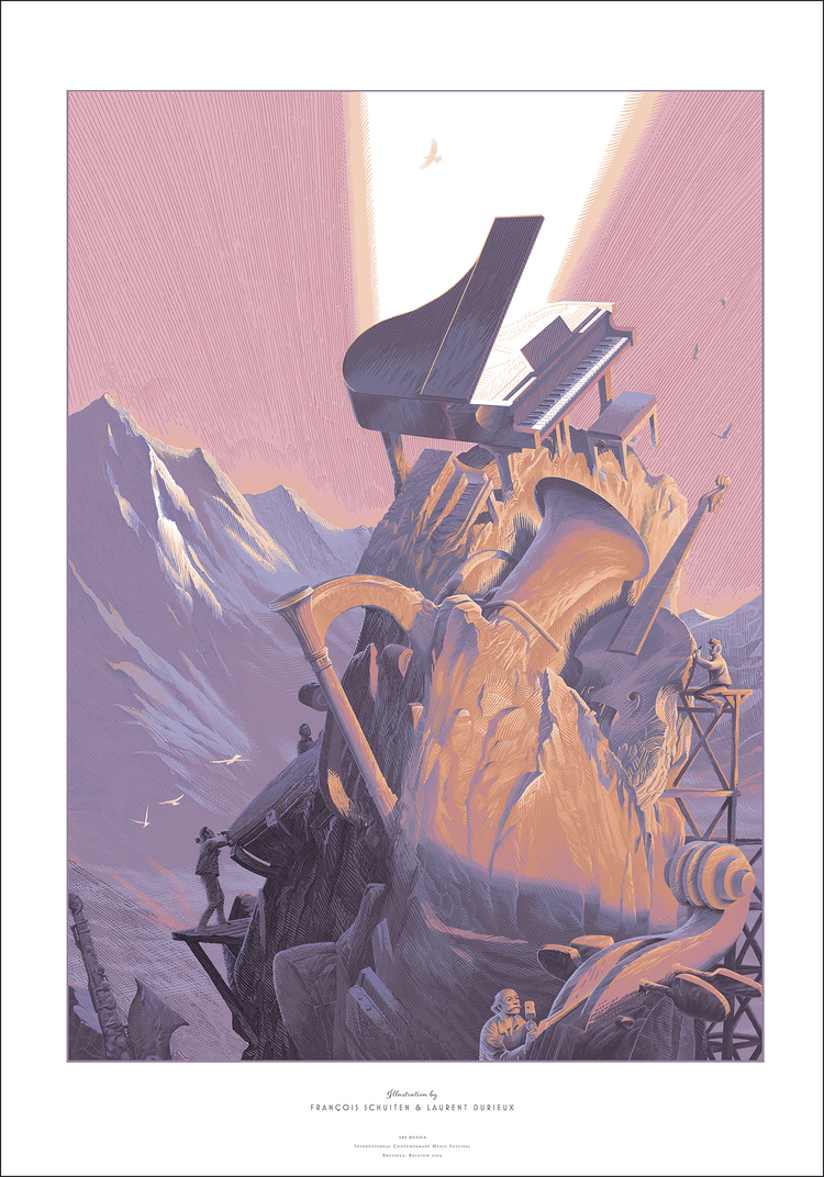 """Ars Musica"" by Laurent Durieux & François Schuiten.  24"" x 36"" 12-color Screenprint.  €80 unsigned : €120 signed"