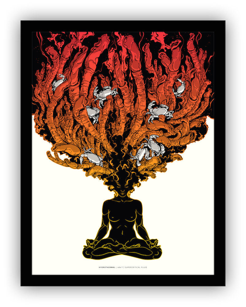 """""""Supercritical Fluid"""" by Joshua Budich.  18"""" x 24"""" 3-color Screenprint.  Ed of 50 S/N.  $40 (Yellow-Red)"""