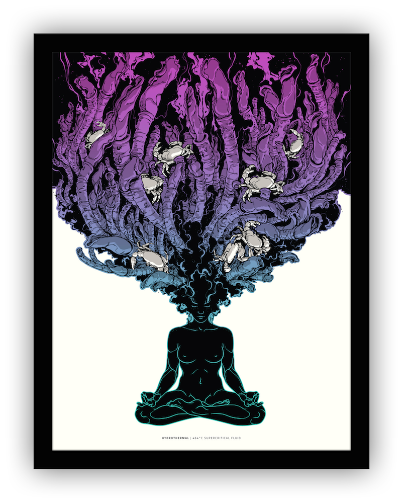 """Supercritical Fluid"" by Joshua Budich.  18"" x 24"" 3-color Screenprint.  Ed of 20 S/N.  $55 (Seafoam-Purple)"