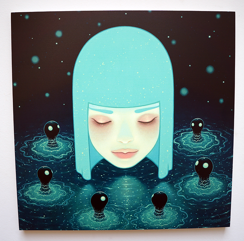 "Umibozu Lake by Tara McPherson, Signed and numbered, 12"" x 12"", $100, edition of 100"