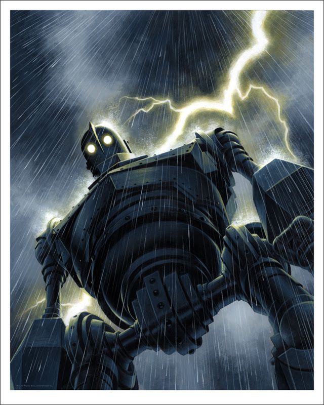 "The Iron Giant (Rain) by Jason Edmiston. 16""x20"" giclee. Hand numbered. Edition of 170. Printed by Static Medium $65"