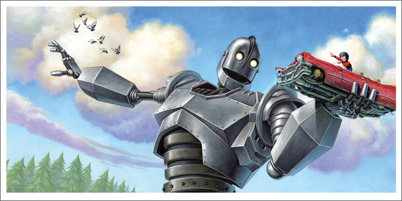 "The Iron Giant (Car) by Jason Edmiston. 24""x12"" giclee. Hand numbered. Edition of 110. Printed by Static Medium. $65"