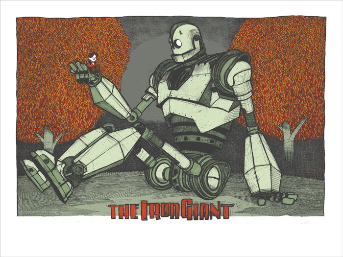 "The Iron Giant by Jay Ryan. 24""x36"" screen print. Signed & numbered by Jay Ryan. Edition of 150. Printed by The Bird Machine. $40"