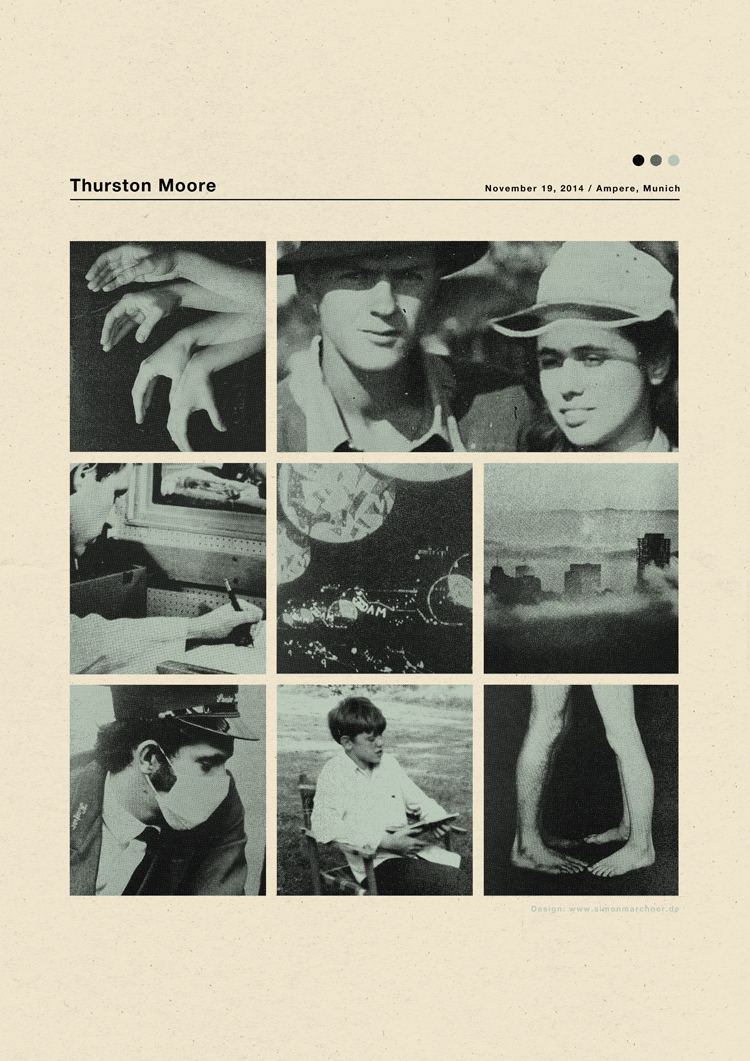 """Thurston Moore - Ampere München 2014"" by Simon Marchner.  42 x 59.4cm 2-color Screenprint.  Ed of 66.  €24 ($30)"