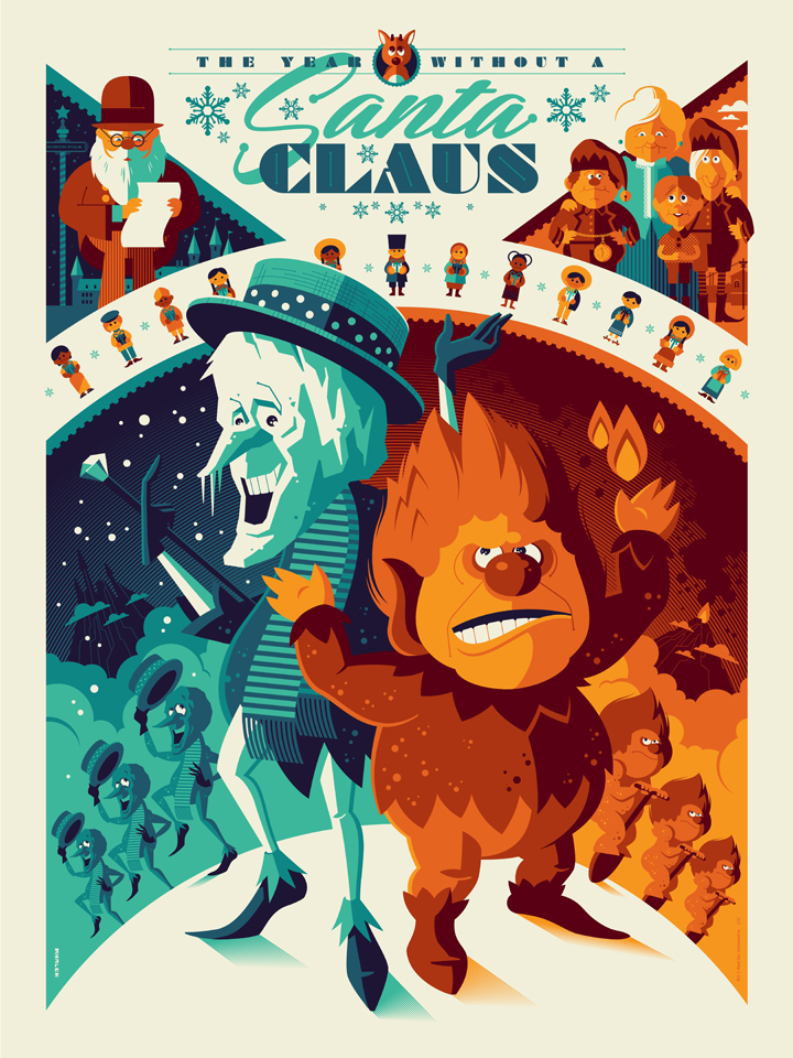 """The Year Without a Santa Claus"" by Tom Whalen.  18"" x 24"" 8-color Screenprint.  Variant (Ed of 50, $100) : Foil (Ed of 10, $150)"