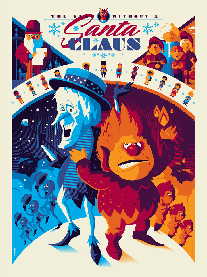 """The Year Without a Santa Claus"" by Tom Whalen.  18"" x 24"" 8-color Screenprint.  Standard (Ed of 280, $65) : Foil (Ed of 10, $150)"