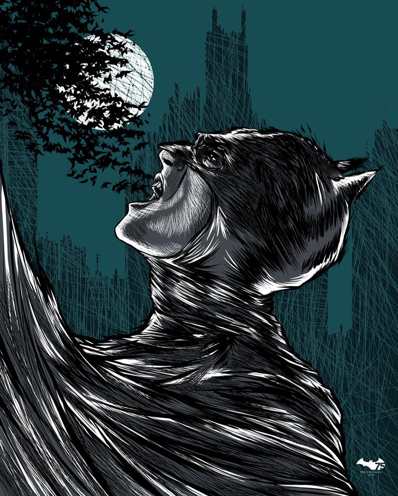 """""""I Am Gotham"""" by Carlos Olmo.  16"""" x 20"""" 4-color Screenprint.  Ed of 75 S/N.  30 € ($37)"""