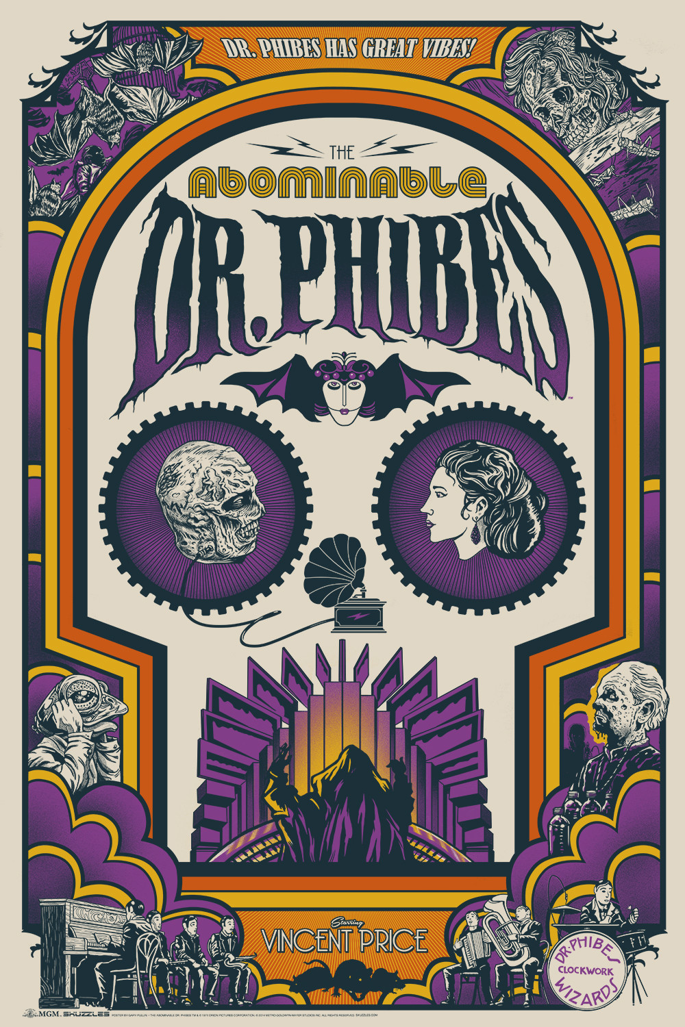 ghoulish gary pullin The Abominable Dr. Phibes - Art Deco Skull