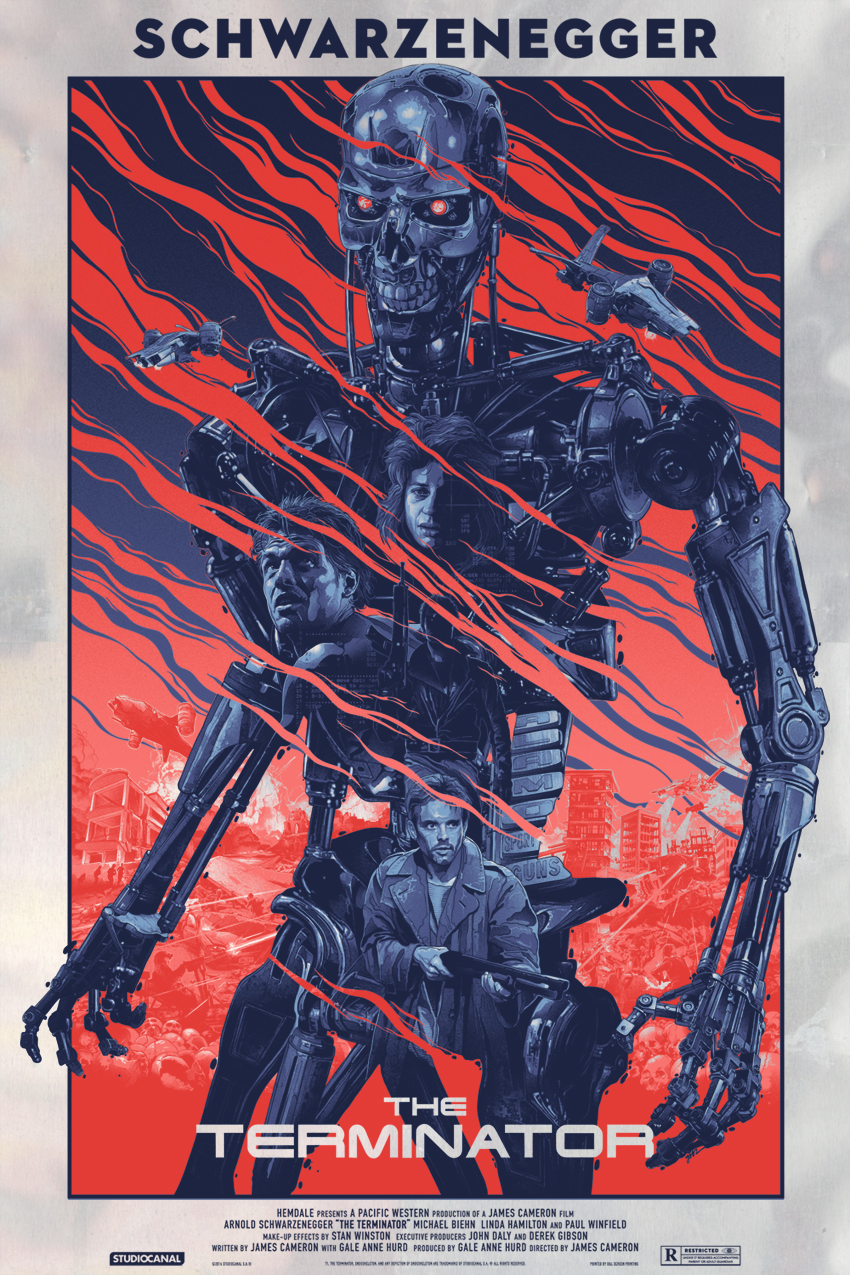 """Terminator"" by Gabz.  24"" x 36"" Screenprint.  Ed of 50.  $125 (Foil variant)"