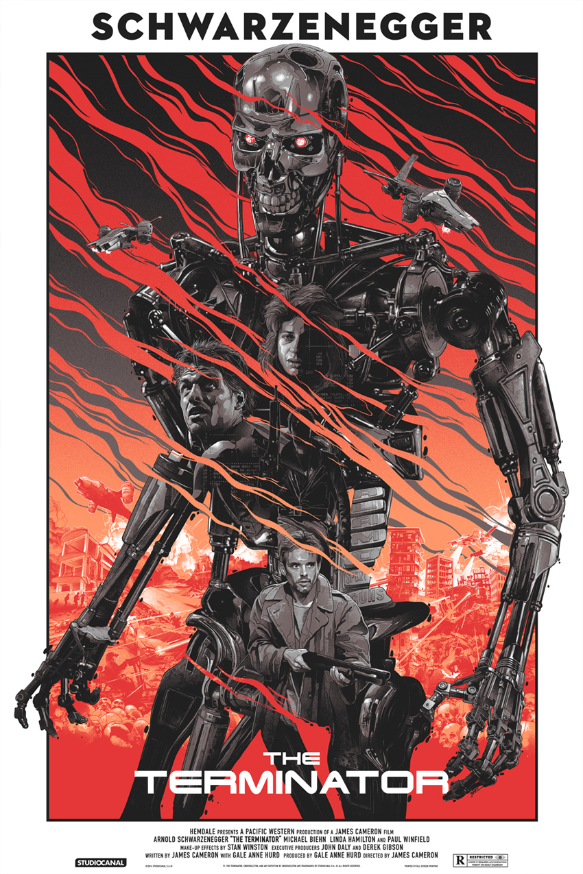 """Terminator"" by Gabz.  24"" x 36"" Screenprint.  Ed of 175.  $75 (variant)"