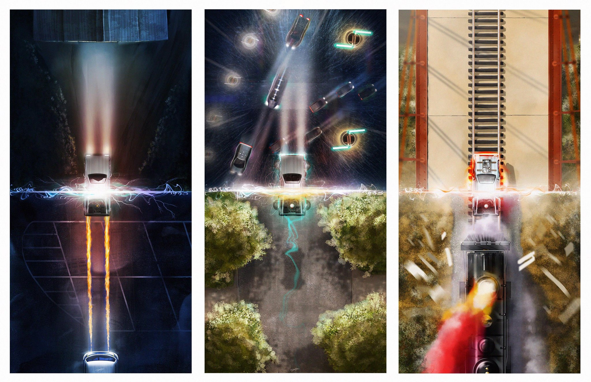 """88MPH"" by Andy Fairhurst.  (3) 12"" x 24"" Giclees.  Ed of 125 N.  $35 each : $95 set"