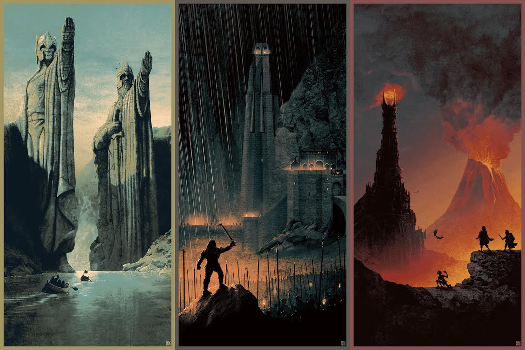 """The Lord of the Rings"" Trilogy set by Matt Ferguson.  (3) 12"" x 24"" 4-color Screenprints.  Timed edition.  $35 each : $100 set"