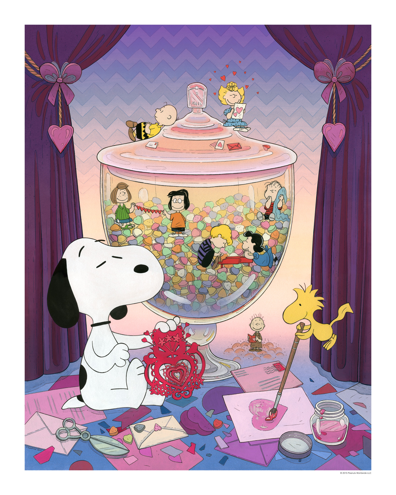 """Snoopy Valentine"" by Nicole Gustafsson.  16"" x 20"" Giclee.  Variant (Ed of 50, $100) : Canvas (Ed of 5, $225)"