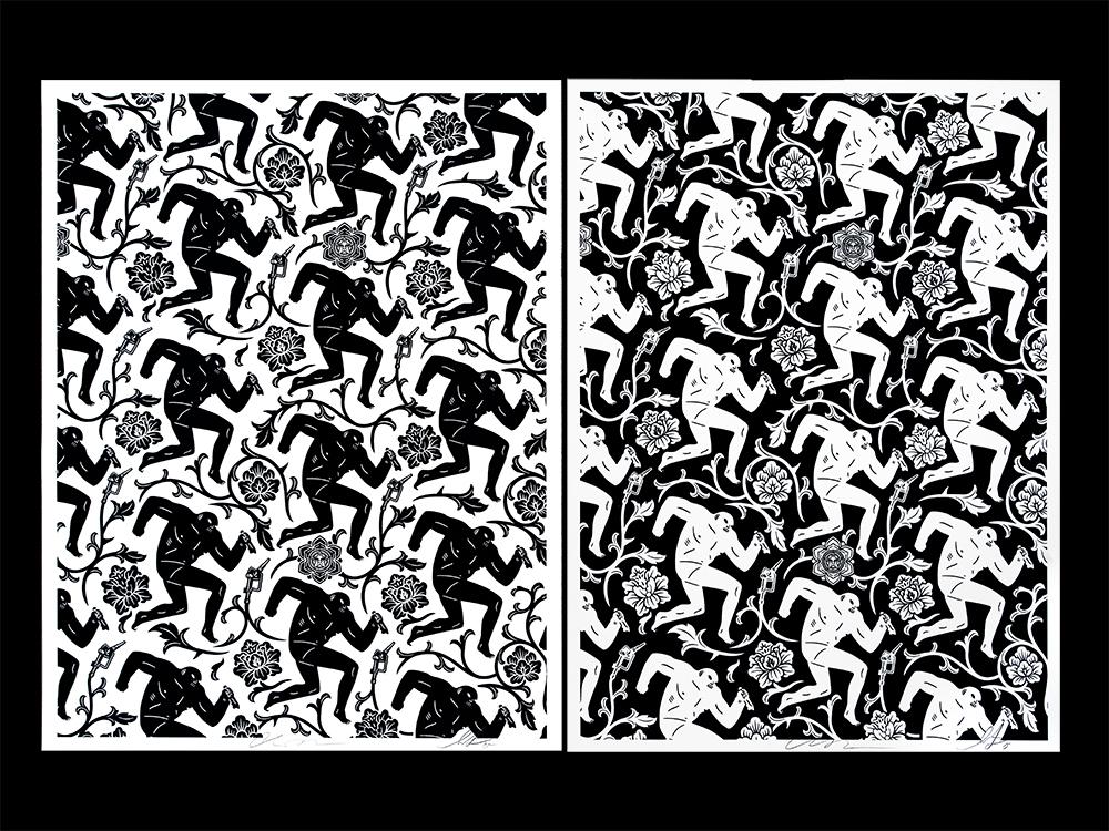 fairey peterson Pattern of Corruption black white
