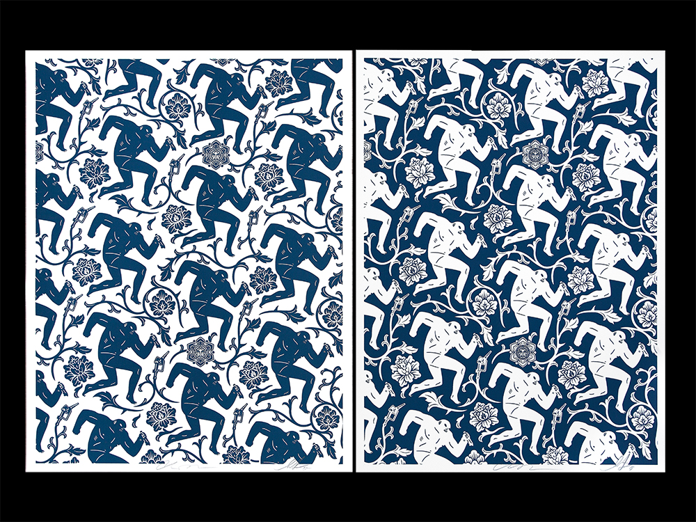 fairey peterson Pattern of Corruption blue white
