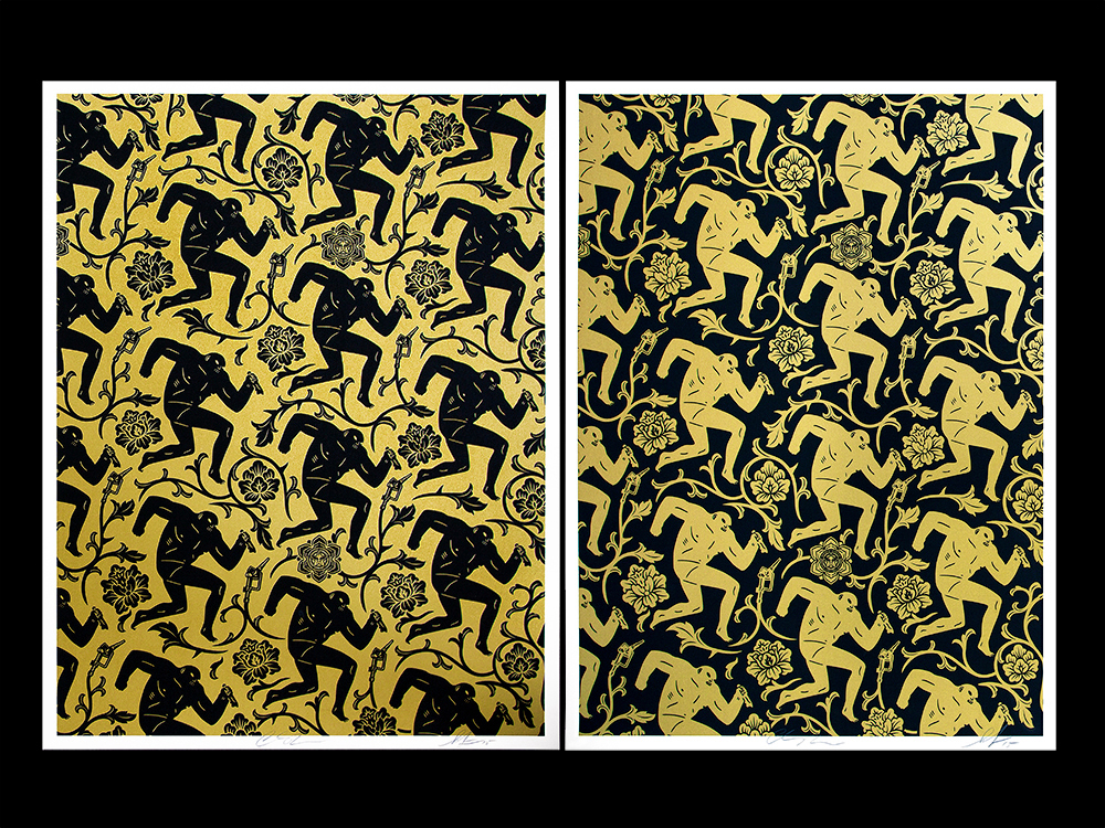 fairey peterson Pattern of Corruption gold black