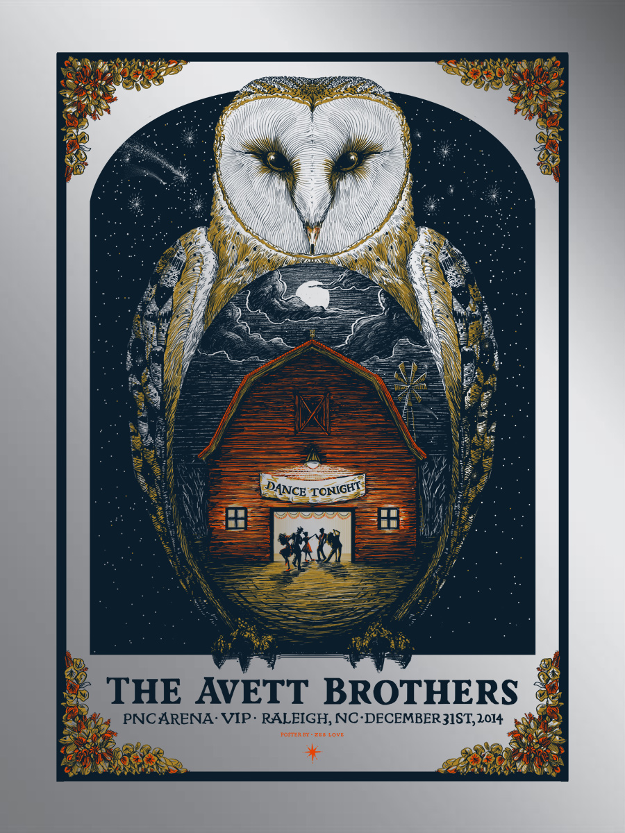 love the avett brothers raleigh nc 2014 foil