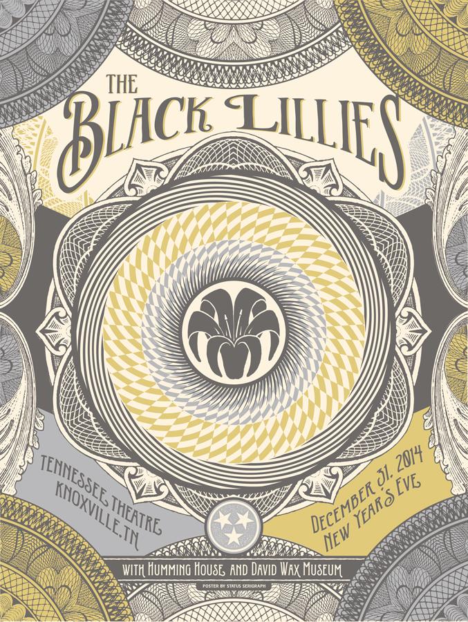 status serigraph Black Lillies NYE 2014