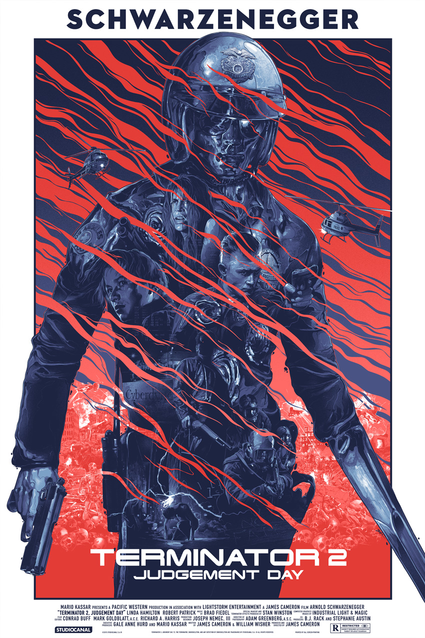 """Terminator 2: Judgement Day"" by Gabz.  24"" x 36"" Screenprint.  Ed of 325 N.  $50"