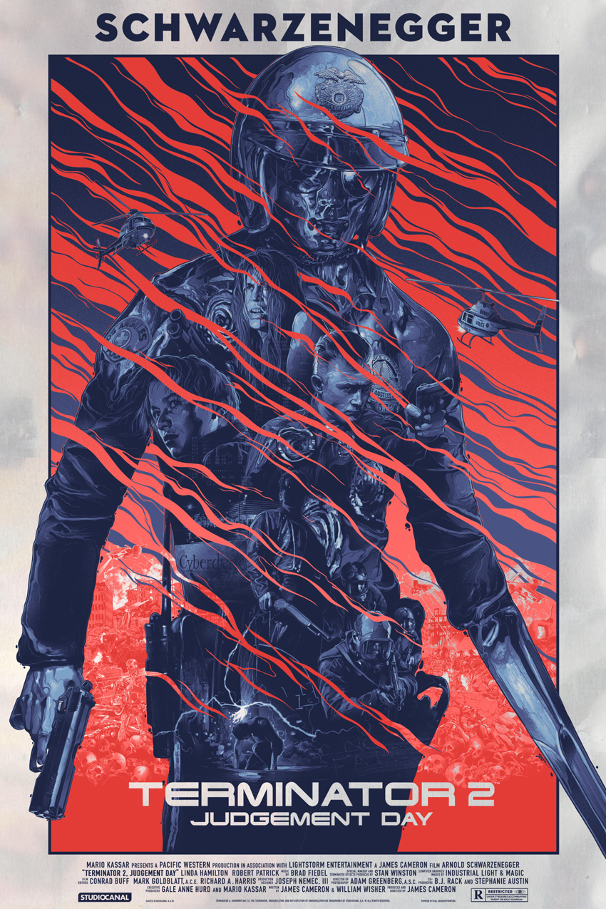 """Terminator 2: Judgement Day"" by Gabz.  24"" x 36"" Screenprint.  Ed of 50 N.  $125 (foil)"