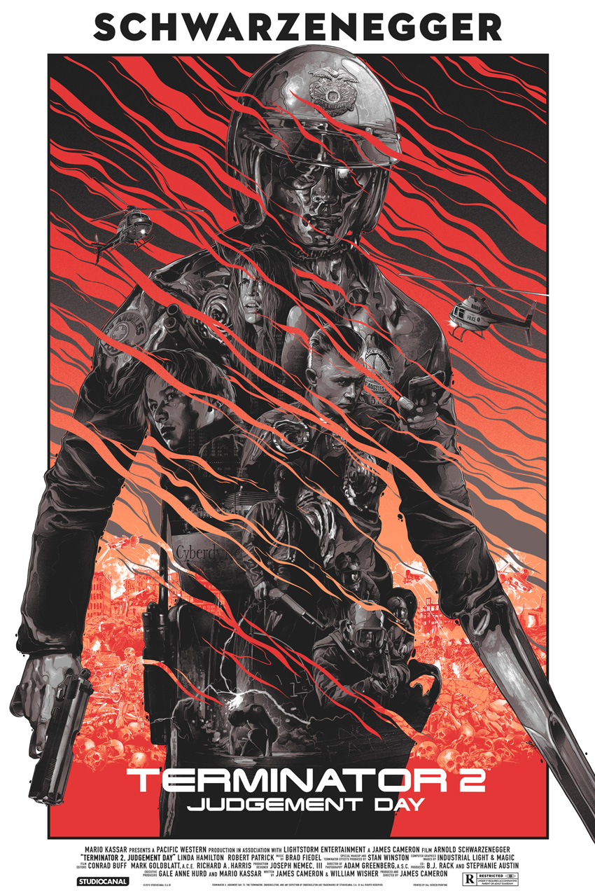 """Terminator 2: Judgement Day"" by Gabz.  24"" x 36"" Screenprint.  Ed of 175 N.  $75 (variant)"