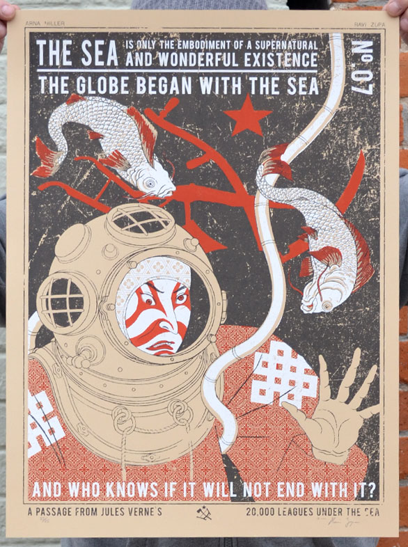 """The Sea"" by Ravi Zupa x Arna Miller.  18"" x 24"" 3-color Screenprint.  Ed of 25 S/N.  $45"