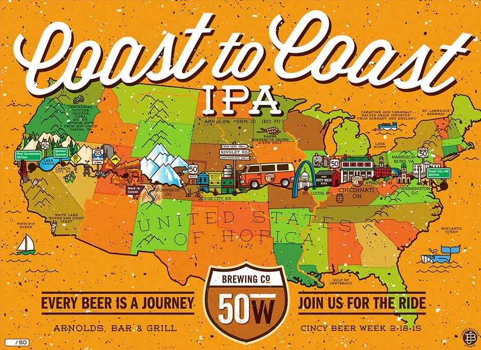"""50 West Coast to Coast IPA"" by James Billiter.  18"" x 24"" Screenprint.  Ed of 50 S/N."
