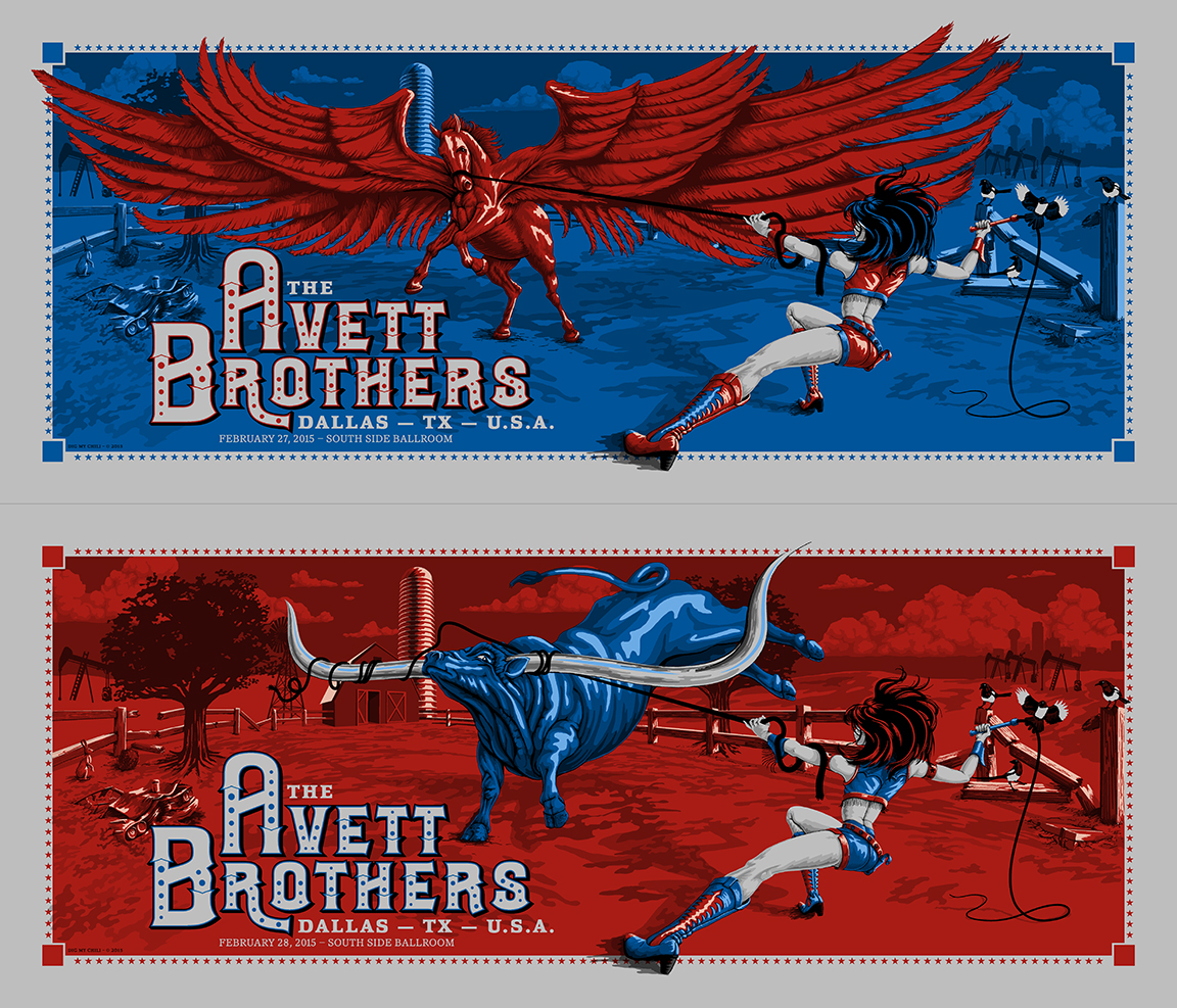 """The Avett Brothers - Dallas, TX 2015"" by Dig My Chili.  24"" x 36"" 5-color Screenprint.  Ed of 200 S/N."