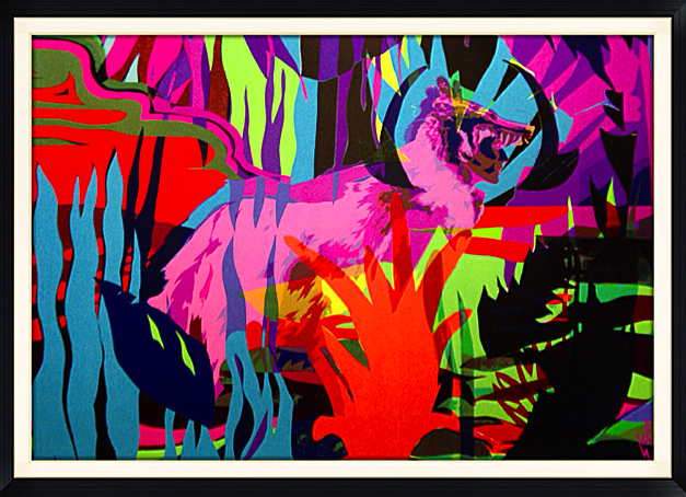 """Coyote Hunt"" by Elle.  22"" x 30"" 9-color Screenprint.  Ed of 50 S/N."