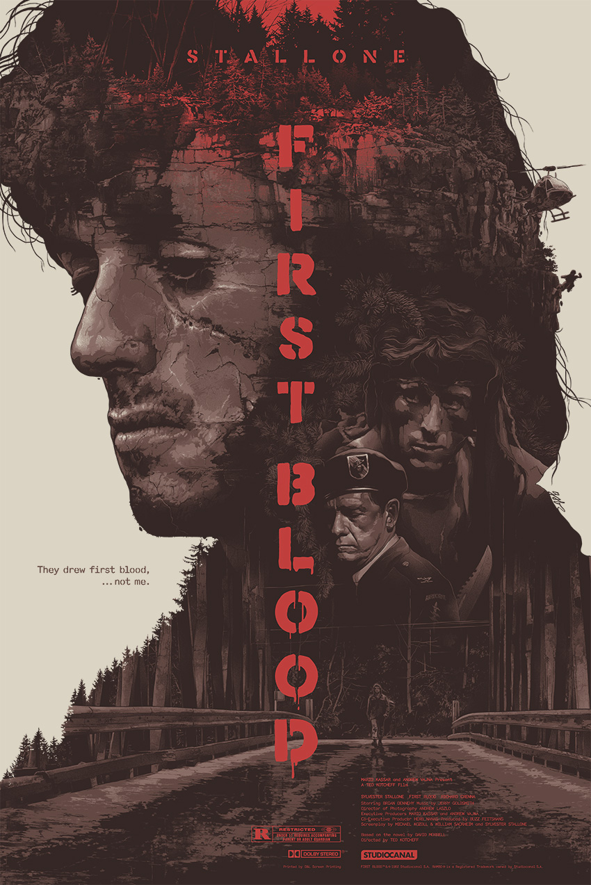 """First Blood"" by Grzegorz Domaradzki (Gabz).  24"" x 36"" Screenprint.  Ed of 300.  $50"