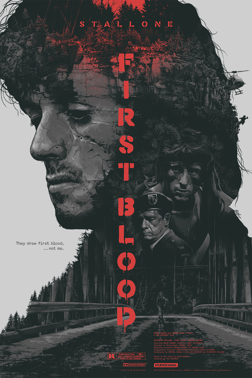 """First Blood"" by Grzegorz Domaradzki (Gabz).  24"" x 36"" Screenprint.  Ed of 150.  $75 (variant)"