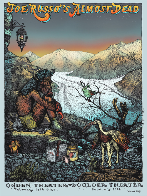 """Joe Russo's Almost Dead - Boulder, CO 2015"" by David Welker.  18"" x 24"" 5-color Screenprint.  AP edition of 40 S.  $40"