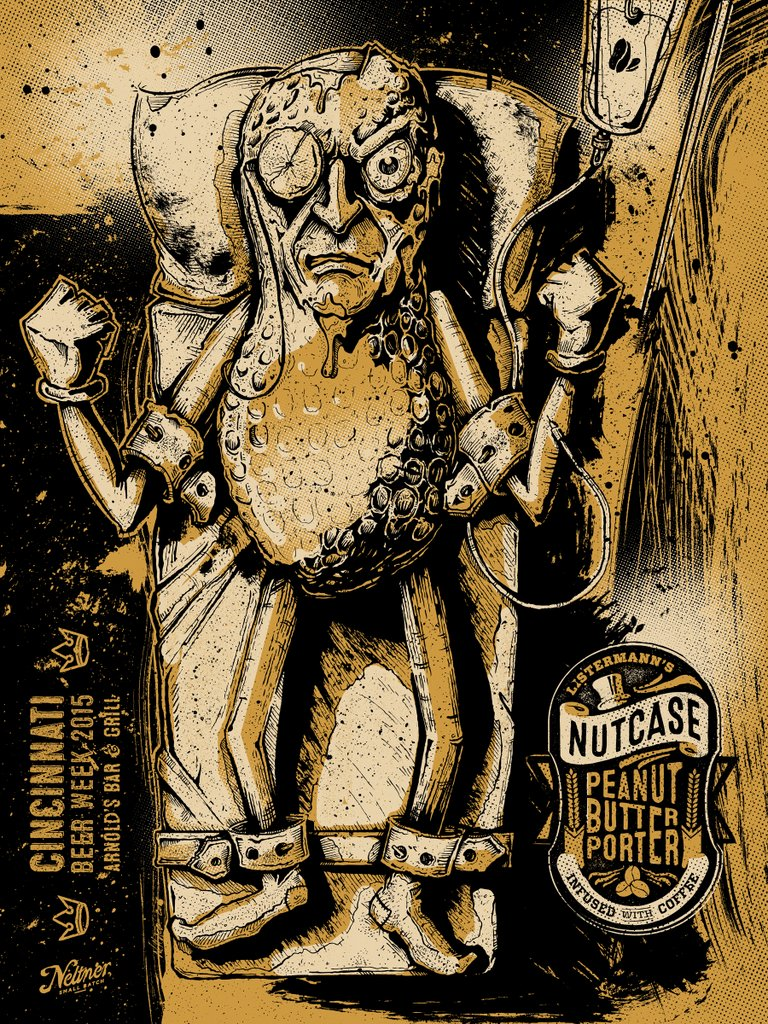 """Listermann's Nutcase Peanut Butter Porter"" Keith Neltner.  18"" x 24"" Screenprint.  Ed of 50 S/N."