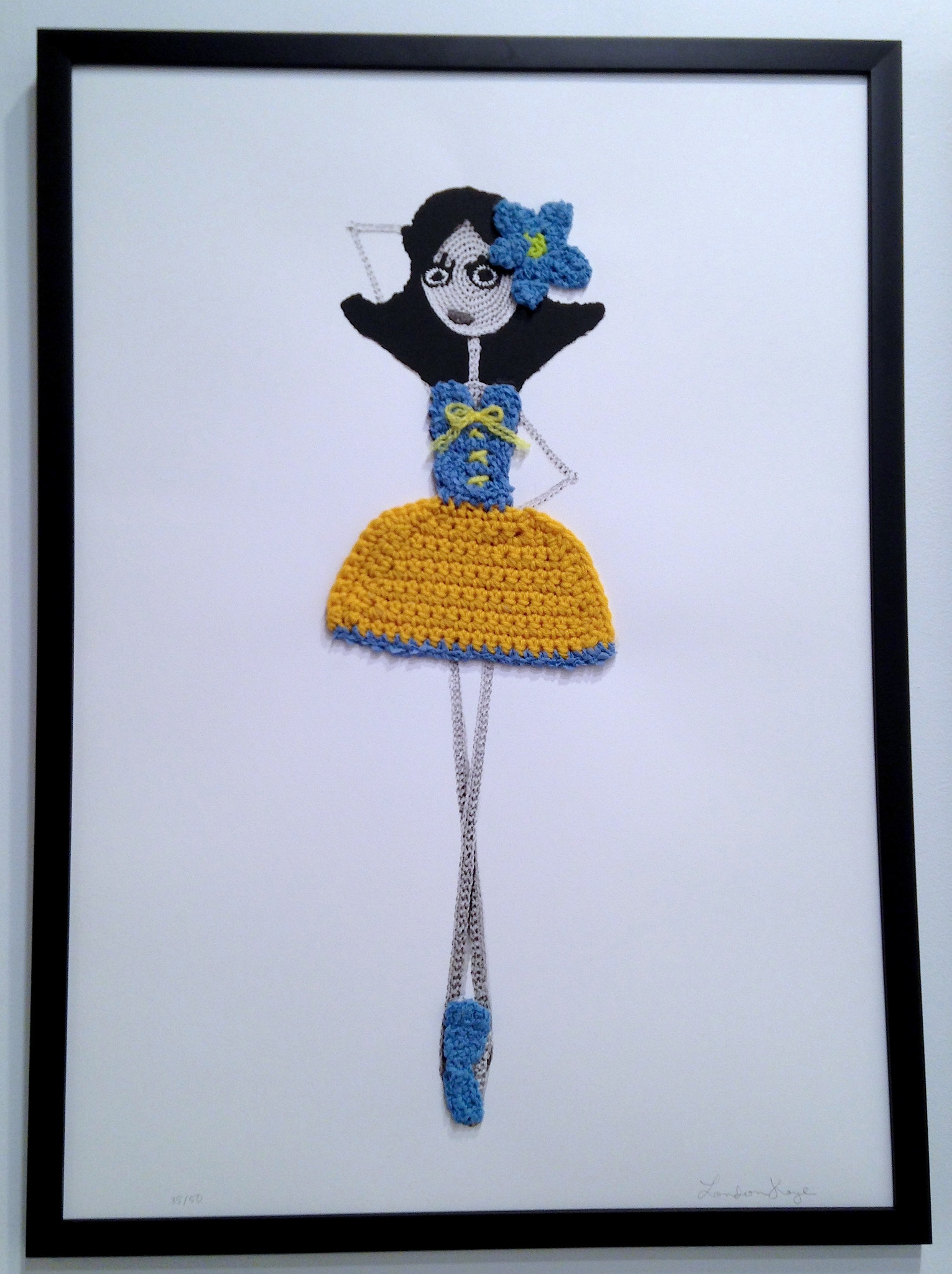 """Lovely Lola"" by London Kaye.  20"" x 28"" 2-color Screenprint, w/ Hand crocheted yarn and ribbon.  Ed of 50 S/N.  $195"