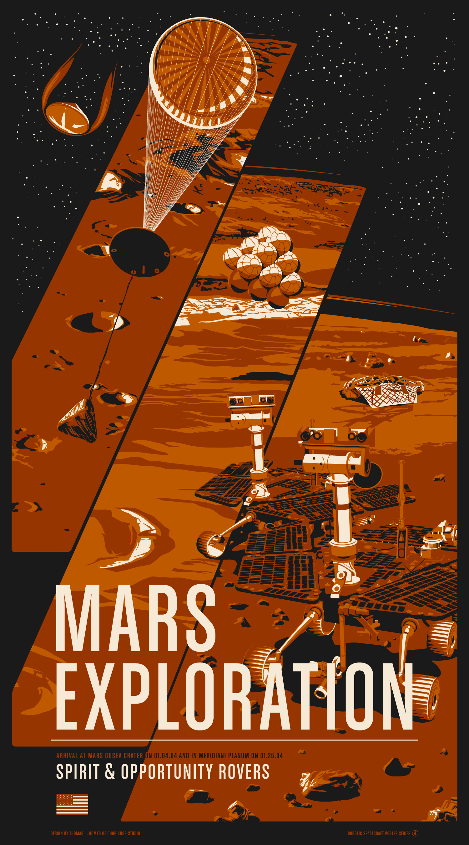 """Mars Exploration Rovers"" by Chop Shop.  20"" x 36"" 3-color Screenprint.  Ed of 175.  $55"