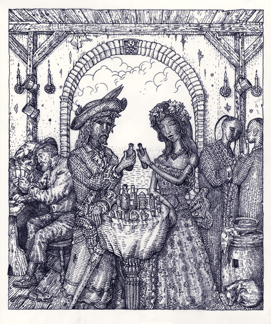 """Tavern of the Skull"" by David Welker.  15"" x 18"" Screenprint.  Ed of 40. $40"