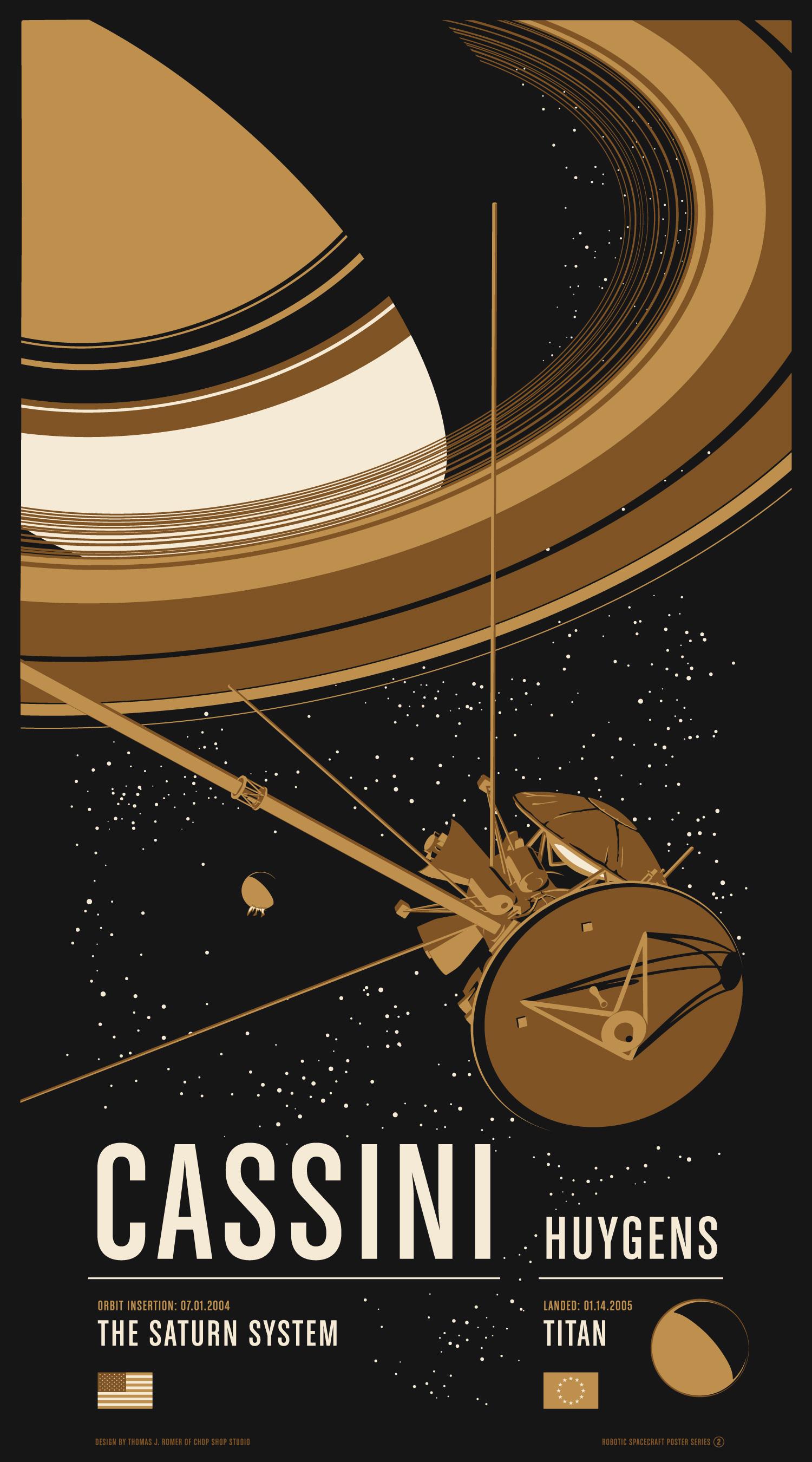 """Cassini"" by Chop Shop.  20"" x 36"" 3-color Screenprint.  Ed of 275.  $55"