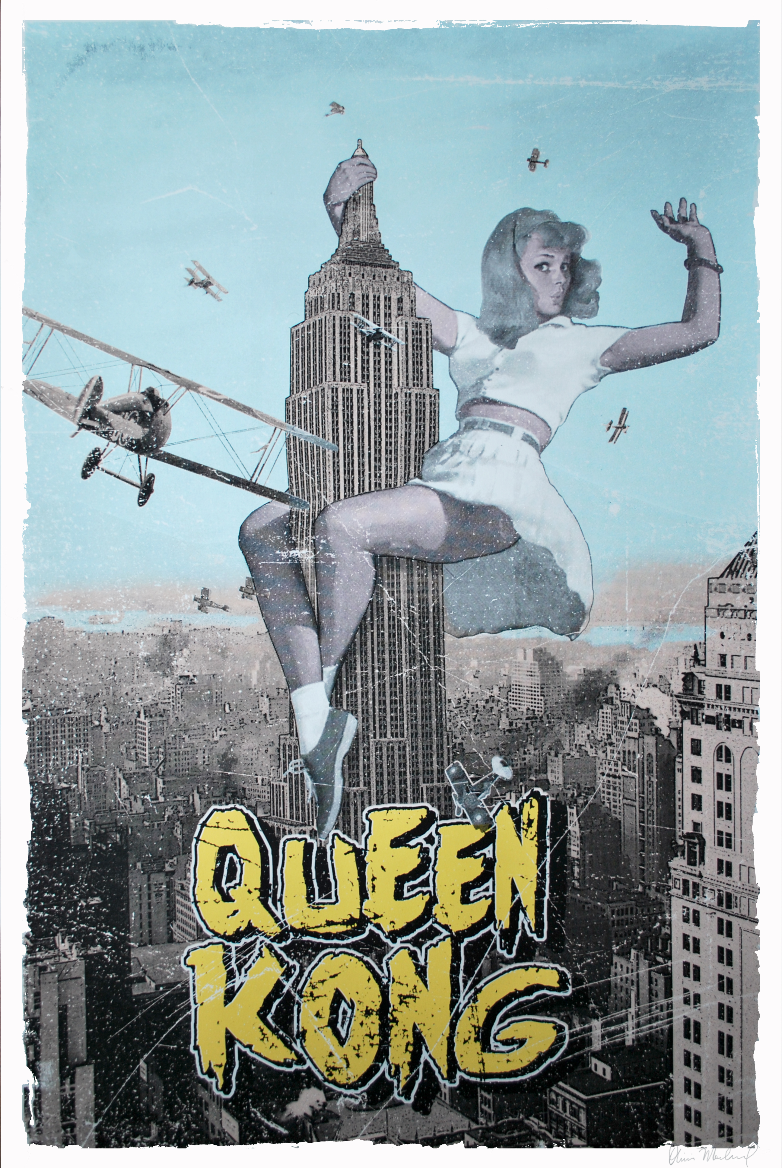 """Queen Kong"" by Olivier Marchand.  24"" x 36"" 5-color Screenprint.  Ed of 29 S/N.  $80"