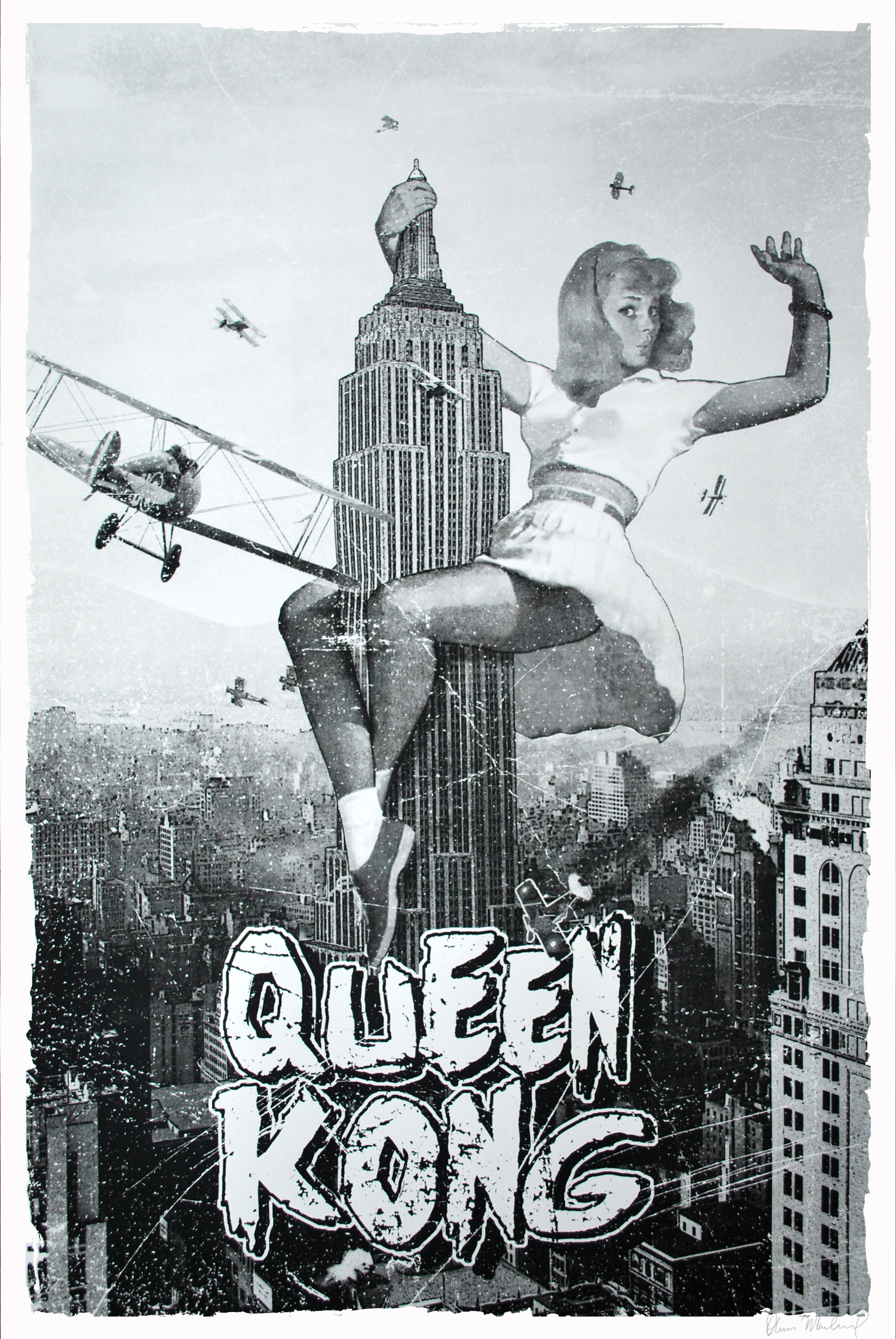 """Queen Kong"" by Olivier Marchand.  24"" x 36"" Screenprint.  Ed of 1 S/N.  $200 (B&W variant)"