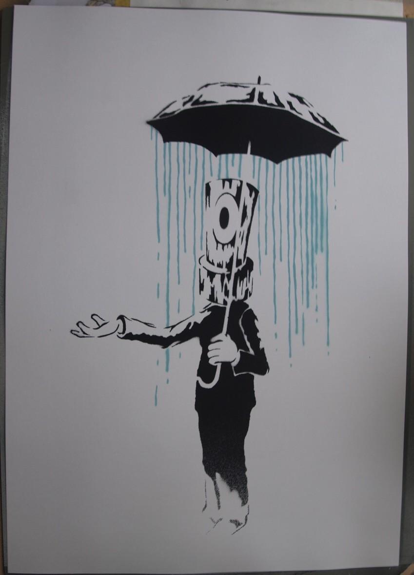 """Cap'ola"" by Copymenot.  A2 Stencil/Spraypaint."
