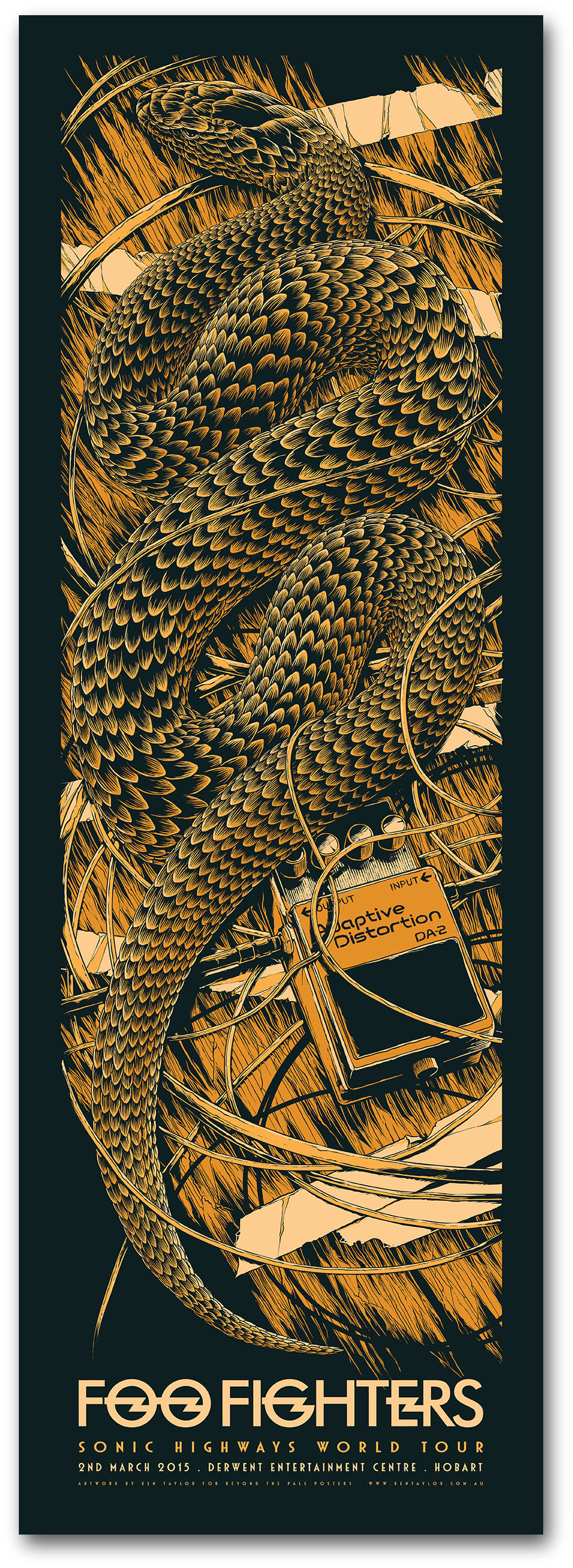 """Foo Fighters - OZ Tour 2015"" by Ken Taylor.  890 x 305mm Screenprint.  Ed of 350 S/N.  $45 (Hobart)"