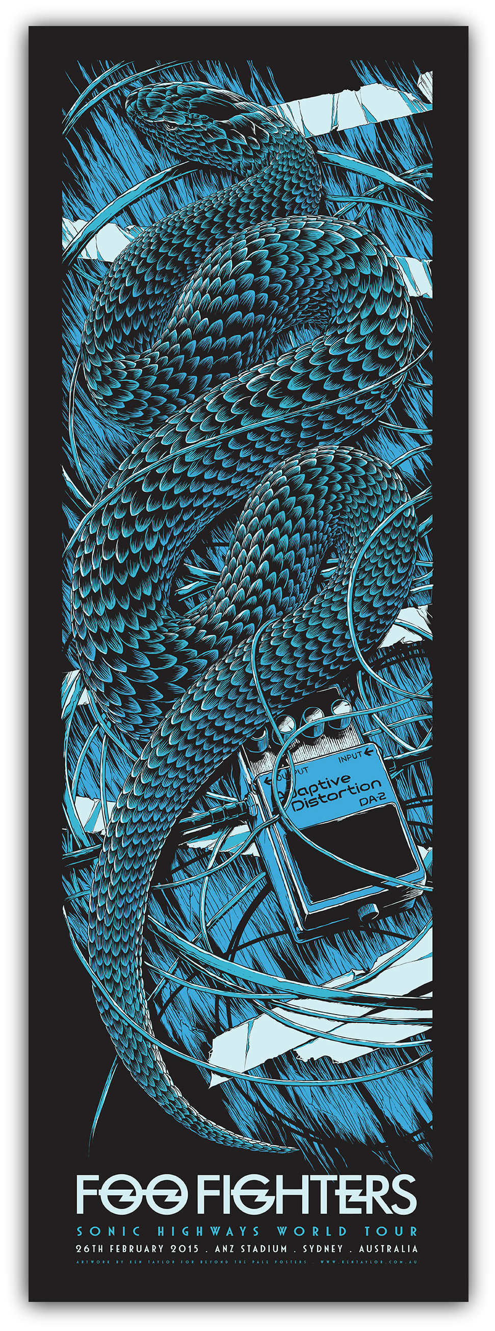 """Foo Fighters - OZ Tour 2015"" by Ken Taylor.  890 x 305mm Screenprint.  Ed of 350 S/N.  $45 (Sydney)"