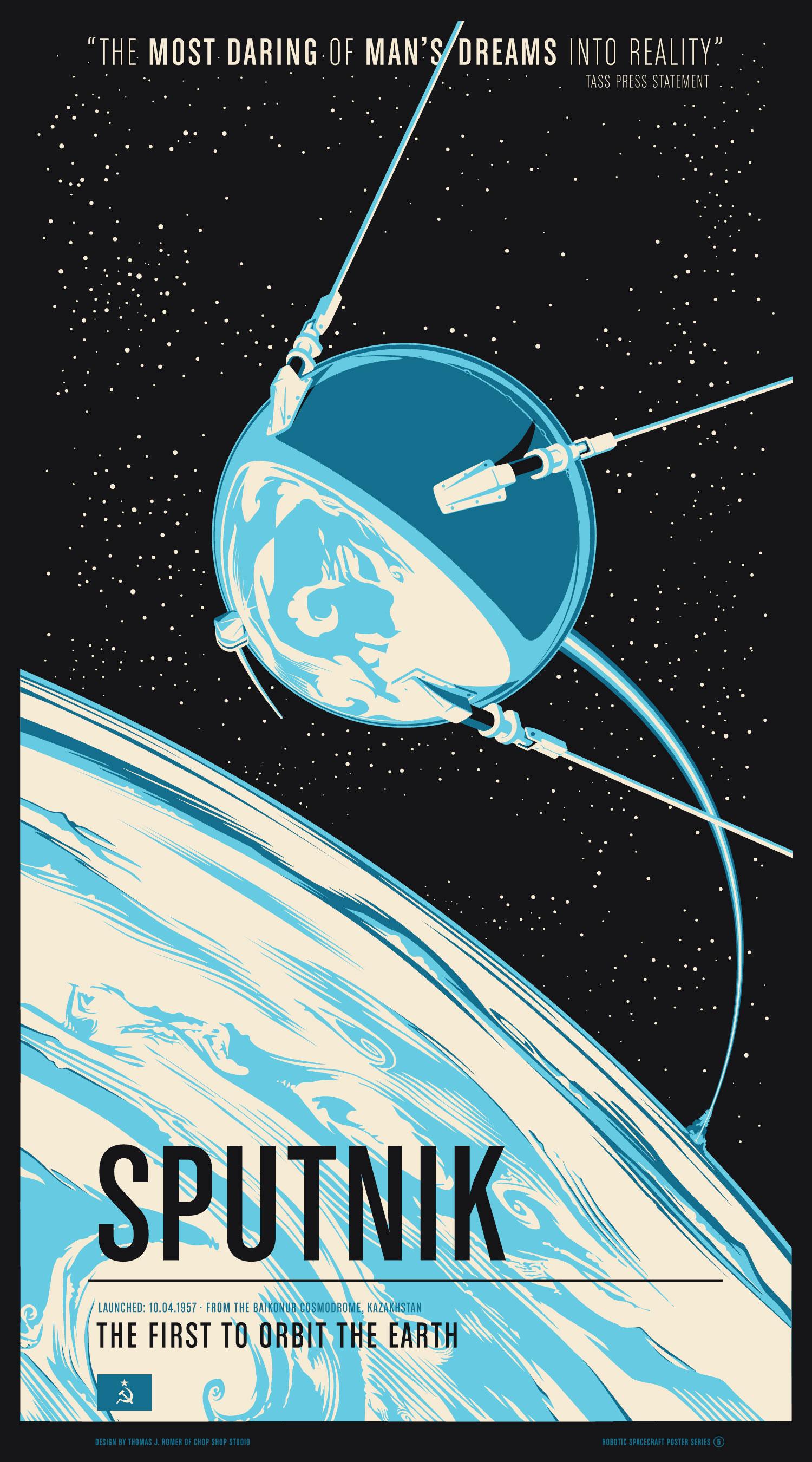 """Sputnik"" by Chop Shop.  20"" x 36"" 3-color Screenprint.  Ed of 175.  $55"