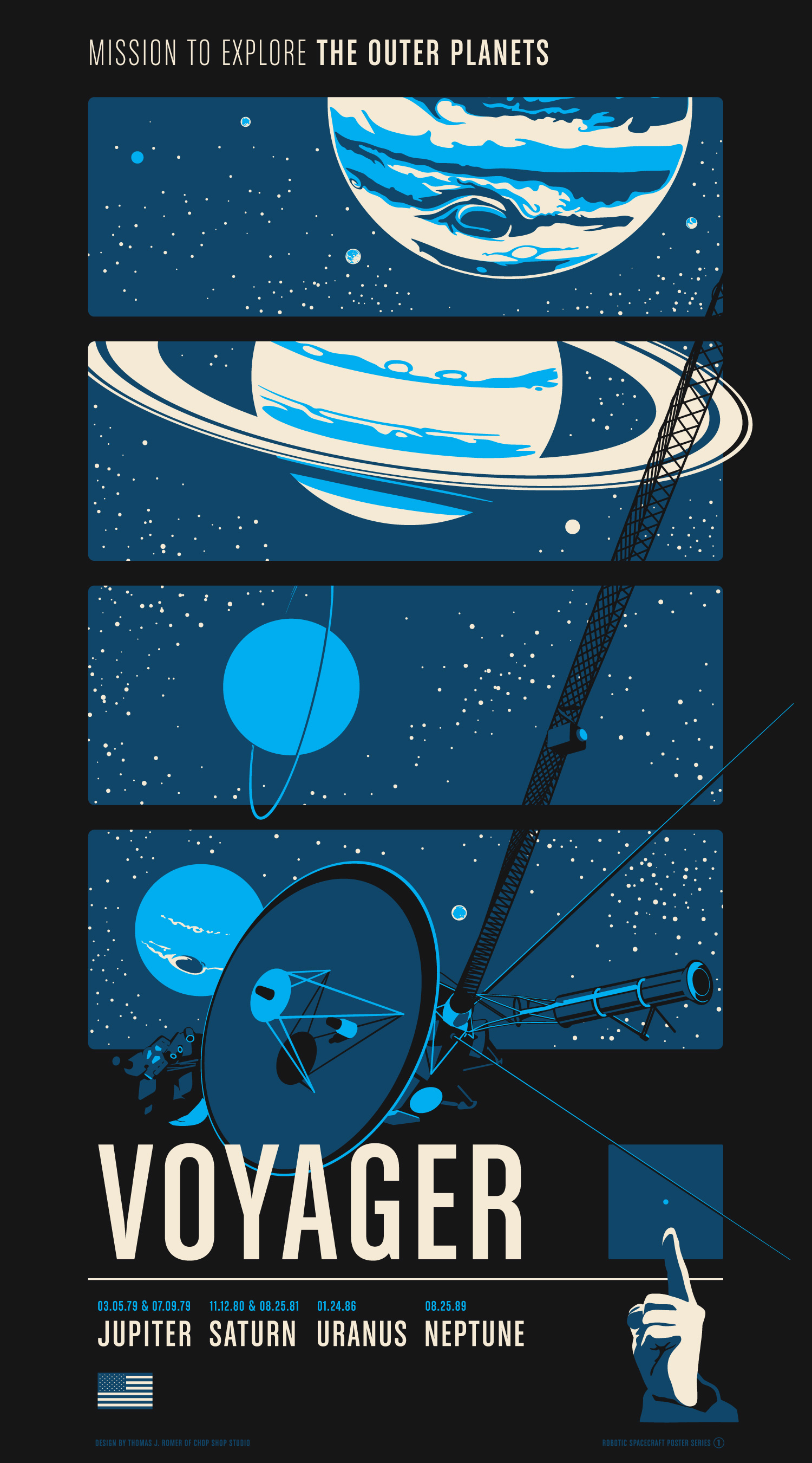 """Voyager"" by Chop Shop.  20"" x 36"" 3-color Screenprint.  Ed of 400.  $55"