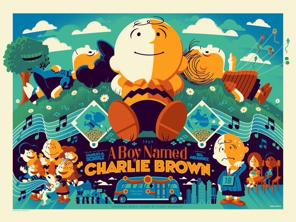 """A Boy Named Charlie Brown"" by Tom Whalen.  18"" x 24"" Screenprint.  Standard (Ed of 280, $65) : Wood (Ed of 10, $250)"