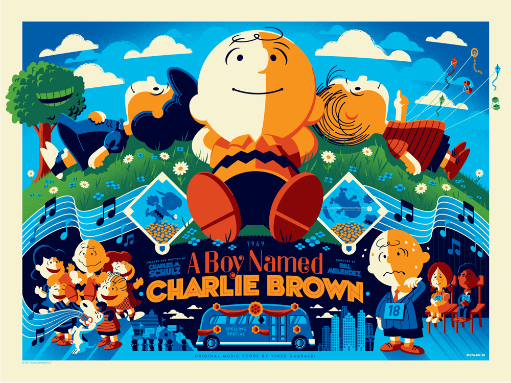 """A Boy Named Charlie Brown"" by Tom Whalen.  18"" x 24"" Screenprint.  Variant (Ed of 50, $100) : Wood (Ed of 10, $250)"