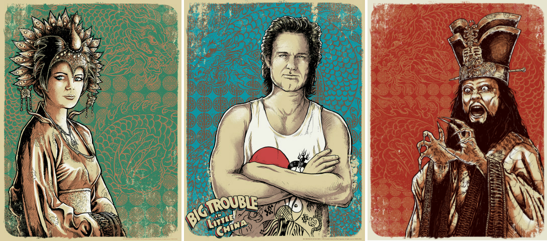 """Big Trouble In Little China"" by Godmachine.  (3) 18"" x 24"" Screenprints.  Ed of 200 N.  $100"